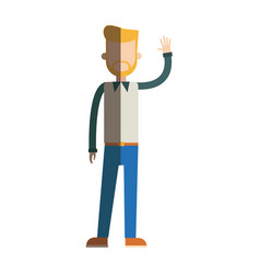character beard man standing style image vector image