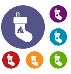 christmas sock icons set vector image vector image