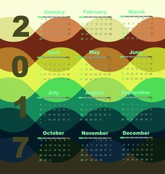 Colorful wave 2017 calendar template vector