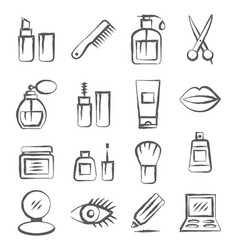 cosmetics doodle icons vector image