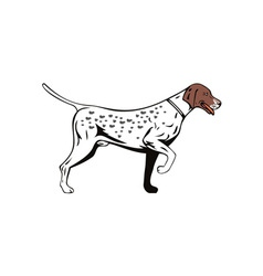 Dog pointer side view retro vector