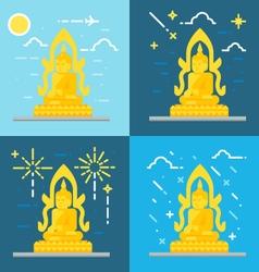 Flat design of buddha thailand vector