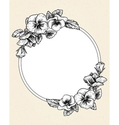 Frame with hand drawn pansy flowers vector image vector image