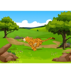 Funny cheetah cartoon running with forest landscap vector