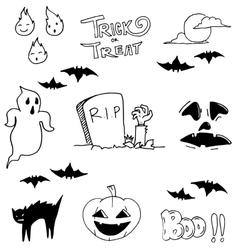 Ghost halloween doodle art vector image vector image