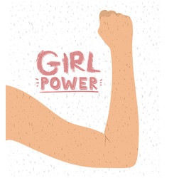 Girl power poster with female raised right arm in vector