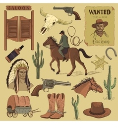 Hand drawn Wild West icons set vector image