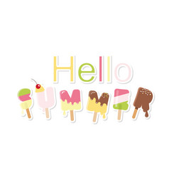 Hello summer ice cream letters isolated on white vector