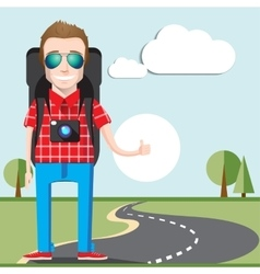 Hitchhiking tourism concept Young Hitchhiker vector image