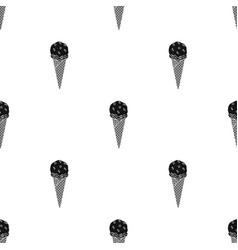 Ice cream in waffle cone icon in black style vector