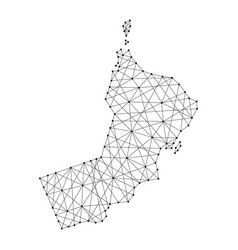 Map of oman from polygonal black lines and dots vector