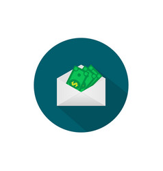 Money in the mail envelope cash icon in flat vector