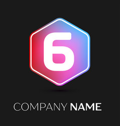 Number six symbol in colorful hexagonal vector