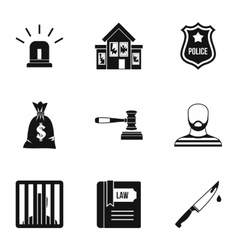 Offense icons set simple style vector image