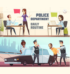 police department horizontal banners vector image vector image