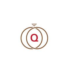 q letter ring diamond logo vector image