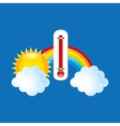 red thermometer icon rainbow weather meteorology vector image