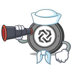 Sailor with binocular bytom coin mascot cartoon vector