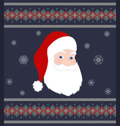santa claus on background of knitted texture vector image vector image