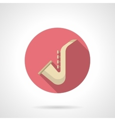 Saxophone round flat color icon vector image vector image