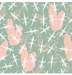 Seamless pattern with cute green gecko lizard vector image