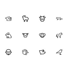 set of 12 editable animal outline icons includes vector image