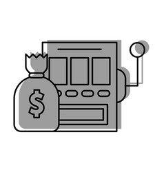 Slot machine with bag money vector