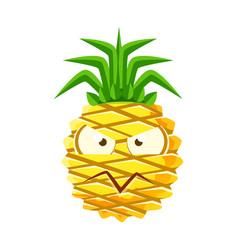 suspicious pineapple face cute cartoon emoji vector image