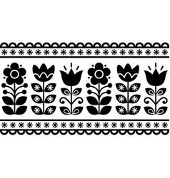 swedish floral retro pattern - seamless folk art vector image vector image