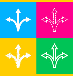 Three-way direction arrow sign four styles of vector