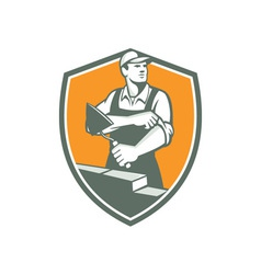 Tiler plasterer mason trowel shield retro vector