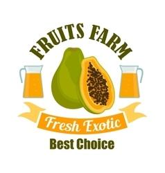 Tropical papaya fruit with juice cartoon sign vector image