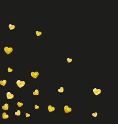 Valentine background with gold glitter hearts vector
