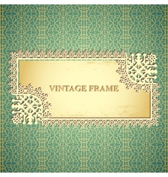 vintage frame on seamless lace pattern vector image