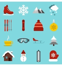Winter icons set flat style vector