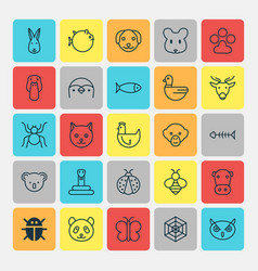 Zoo icons set collection of serpent bear kitten vector
