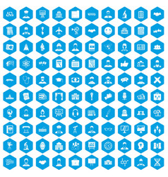 100 intelligent icons set blue vector