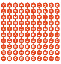 100 reader icons hexagon orange vector