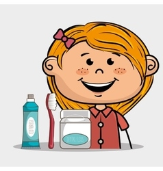 Smiling cartoon girl with dental care implements vector