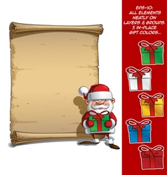 Happy santa scroll holding a gifts vector