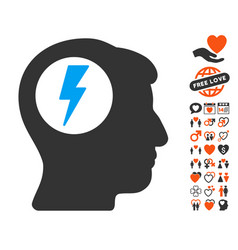 Brain electric shock icon with dating bonus vector