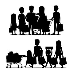 Family making purchases silhouette set vector