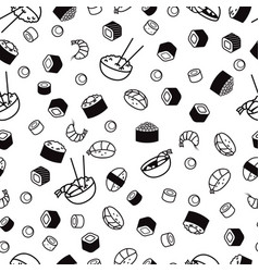 Bw seamless sushi pattern vector