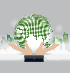 Business hand showing dotted globe with building vector