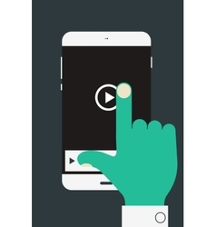 Hand holding mobile device vector
