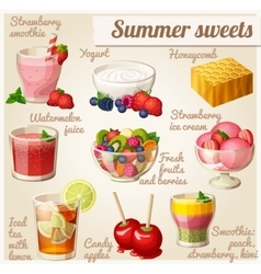 Set of food icons summer sweets vector