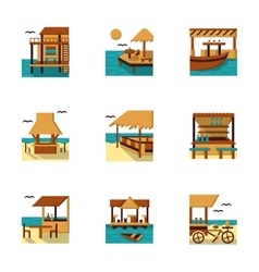 Flat style cafe and bungalow icons set vector