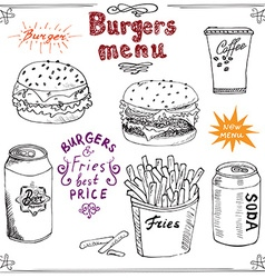 Burger menu hand drawn sketch fastfood poster with vector