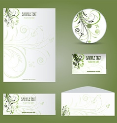 Business stationery layout with floral design vector