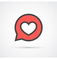 Heart in speech bubble stroke icon vector